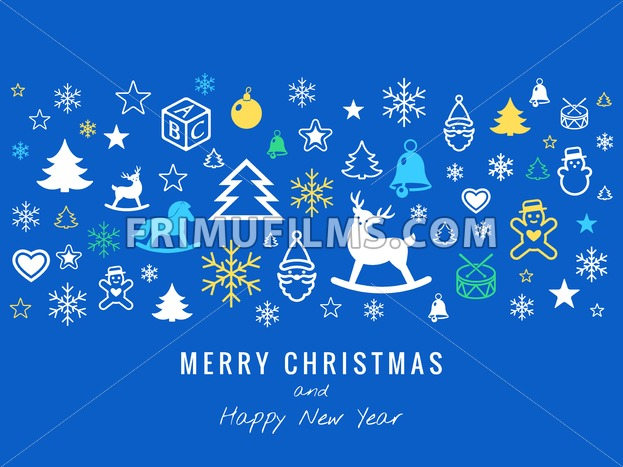 Digital vector blue happy new year merry christmas icons with drawn