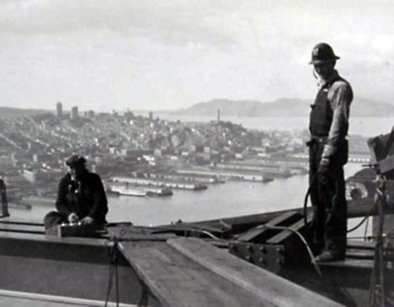 historic photo of construction workers on the san francisco-oakland bay brige