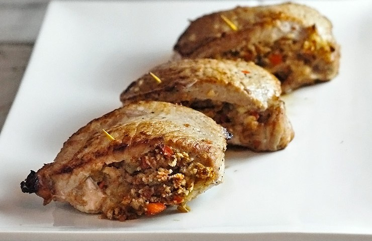 Mushroom and Carrot Stuffed Loin Chops for Man Food Mondays