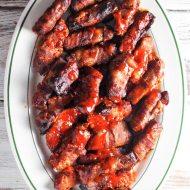Bacon Wrapped Hickory Smoked Buffalo Pork Loin Fingers for Man Food Mondays