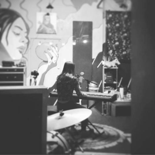 Julia Krueger in the studio creating music for her EP For(e)go