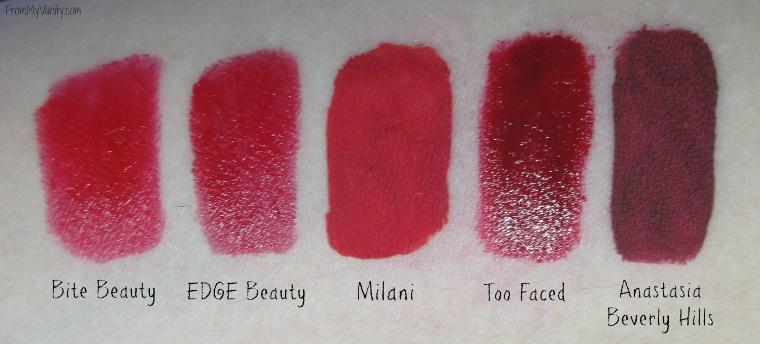 My Top 5 - Red Lipsticks // Christmas Lip Colors // Lip Swatches // Collab with @BeautySection // @ladykaty92 FromMyVanity.com