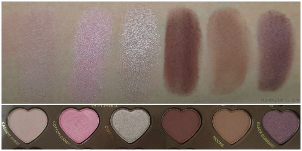 Too Faced Chocolate Bon Bons Palette // Review, Swatches, & Eye Looks // Row 2 Swatches // FromMyVanity.com