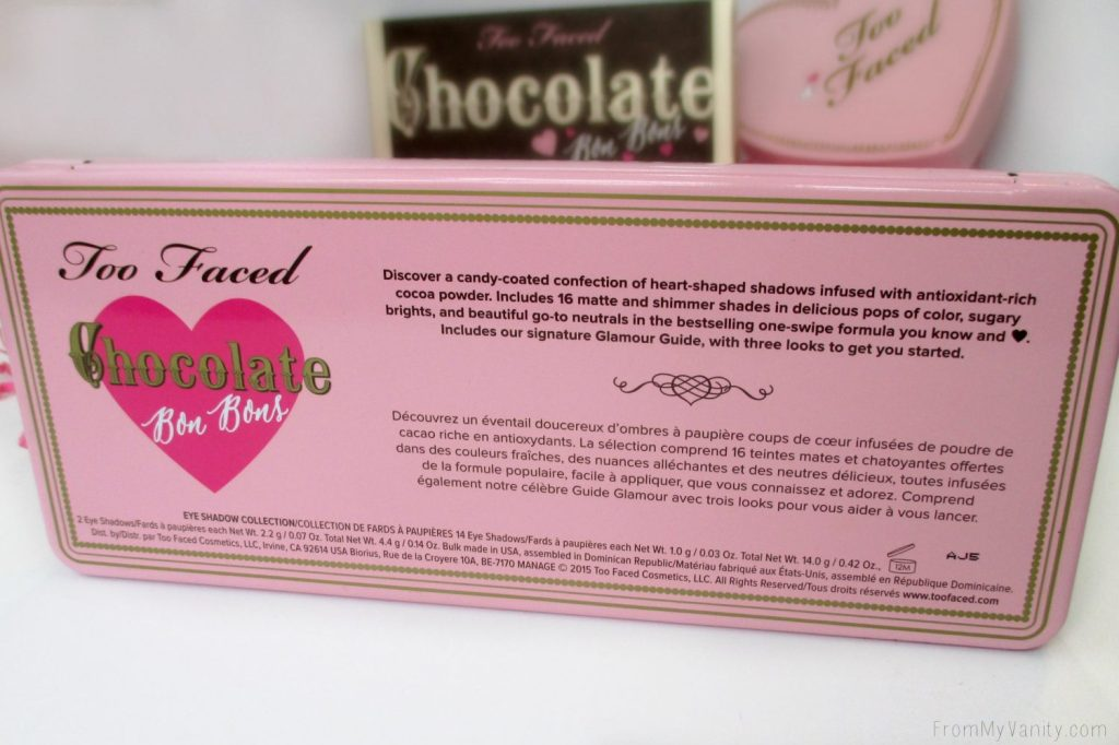 Too Faced Chocolate Bon Bons Palette // Review, Swatches, & Eye Looks // Palette Information // FromMyVanity.com