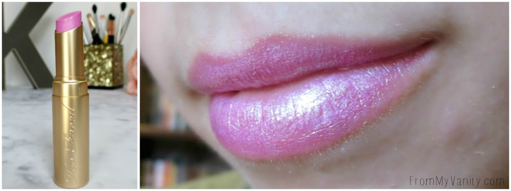 Such a beautiful pinky shimmer! // Too Faced La Creme Color Drenched Lipstick in Clueless // New Shades!