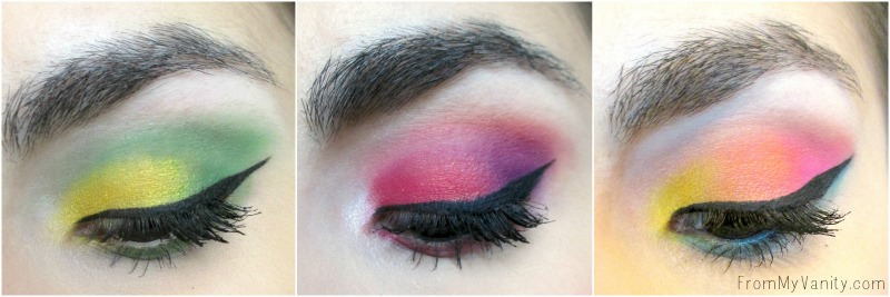 Eye looks using the NYX Brights Ultimate palette