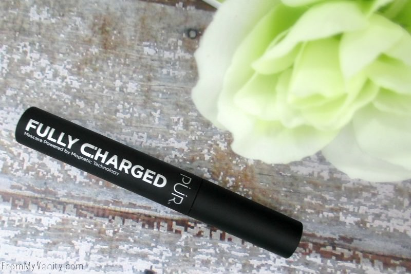 The new PUR Fully Charged mascara is in a cylindrical, black tube that has a similar, velvety feel as the popular NARS packaging