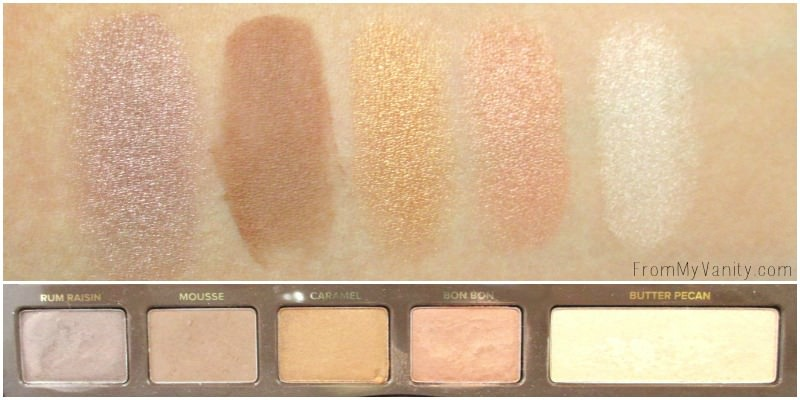 Swatches of the third row of the Semi Sweet palette