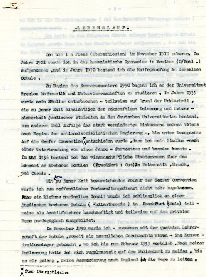 Lebenslauf: Werner Weissenberg, page one