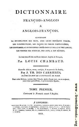 Title Page, Chambaud\u0027s Dictionary