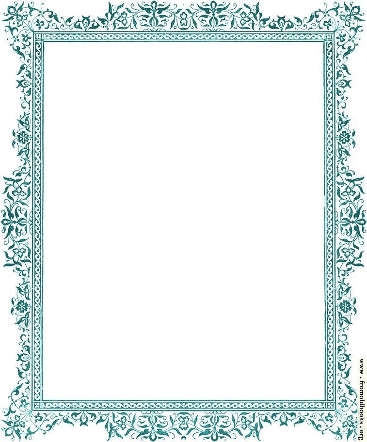 Decorative clip-art Victorian border, antique green - snowflake borders for word