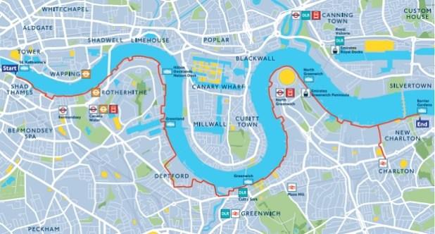 Mapa de Tower Bridge a Thames Barrier