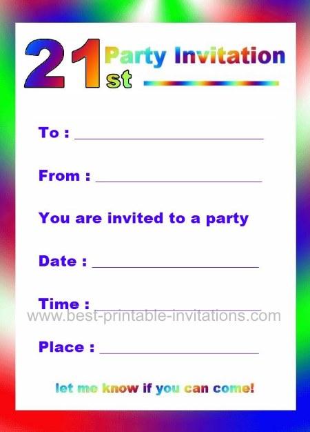 Printable 21st Birthday Party Invitations