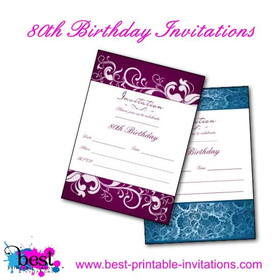 Printable 80th Birthday Invitations