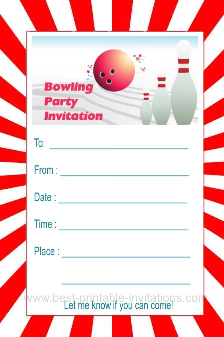 bowling party invitations - Pinarkubkireklamowe