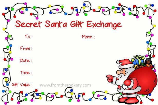 secret santa printable cards