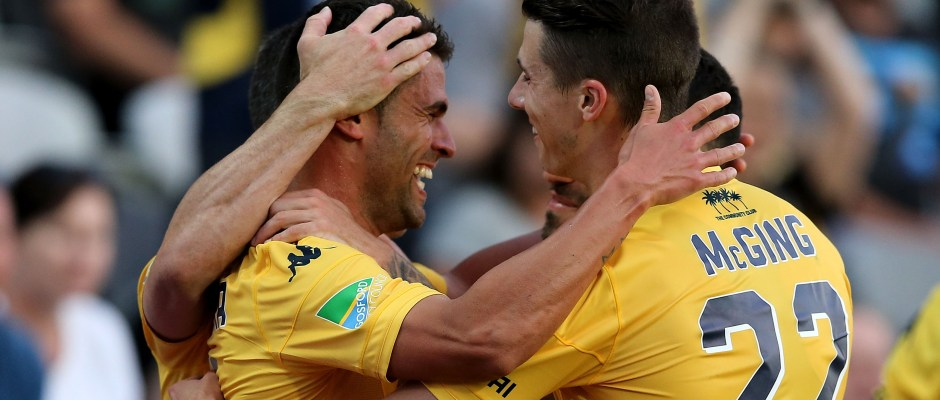 GOSFORD, AUSTRALIA - OCTOBER 10:  Fabio Ferreira of the Mariners celebrates a goal during the round one A-League match between the Central Coast Mariners and the Perth Glory at Central Coast Stadium on October 10, 2015 in Gosford, Australia.  (Photo by Ashley Feder/Getty Images)