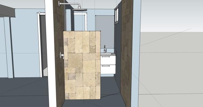 Basement Bathroom 3 quarter shower wall