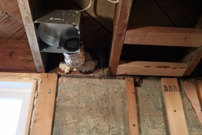 Bathroom exhaust fan duct expandable foam