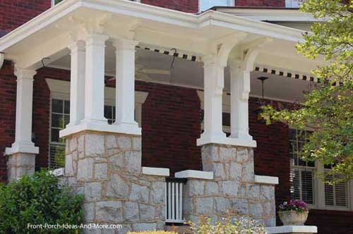Columns front porch railing Pinterest