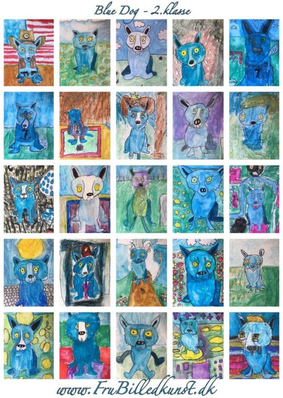 Blue Dog klasseplakat - www.FruBilledkunst.dk