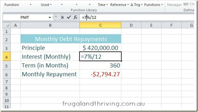 Calculate Loan Repayments in Excel using the PMT function - home loan calculation