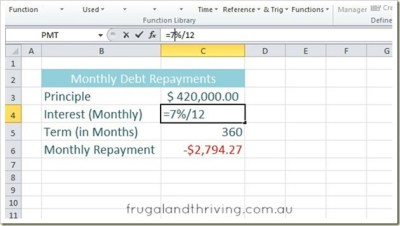 Calculate Loan Repayments in Excel using the PMT function