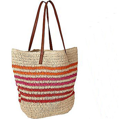 Women's Striped Straw Totes - $18
