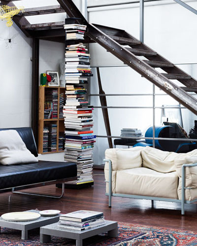 Vertical Spine Bookcase - via The Design Files
