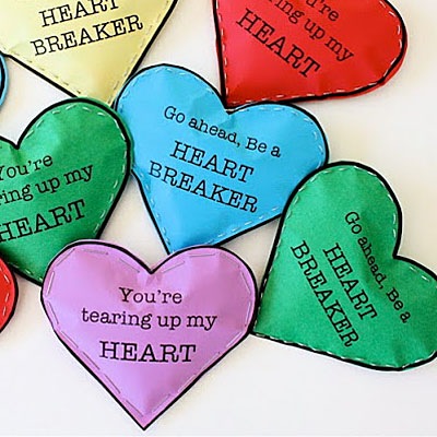 Heart breaker Candy filled Valentine's Cards