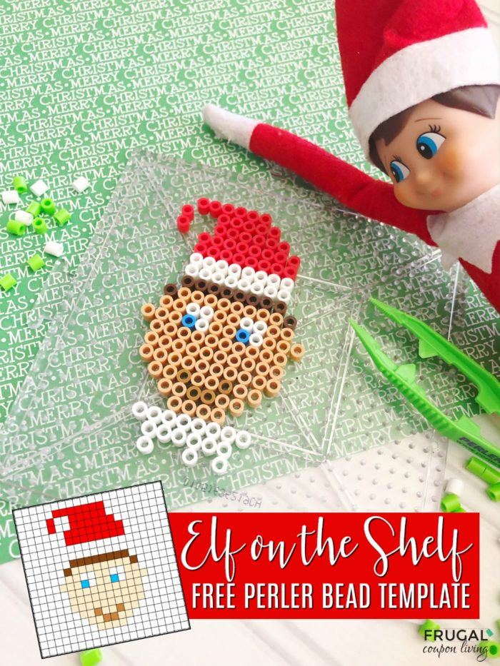 Elf on the Shelf Portrait with Perler Beads Printable Template