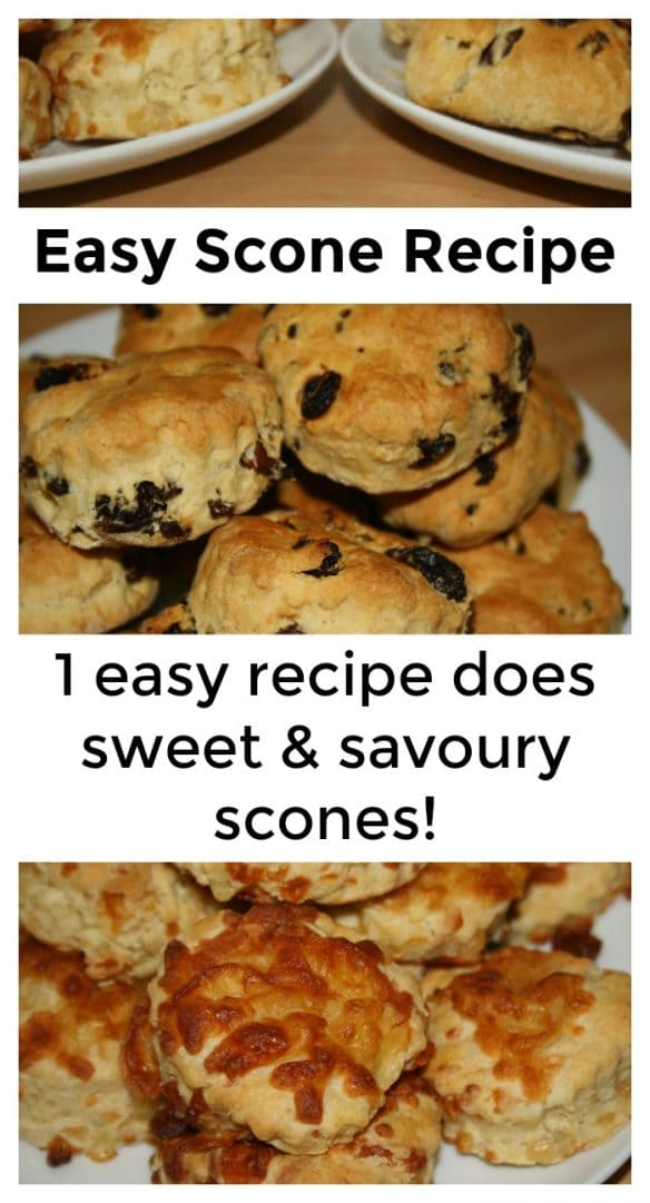 Easy scone recipe - one simple recipe can be adapted to make both sweet and savoury scones!