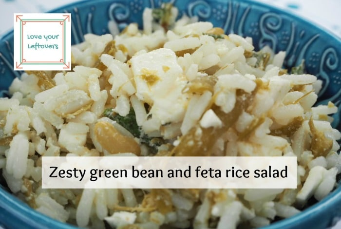 Super easy zesty green bean and feta rice salad #LoveYourLeftovers