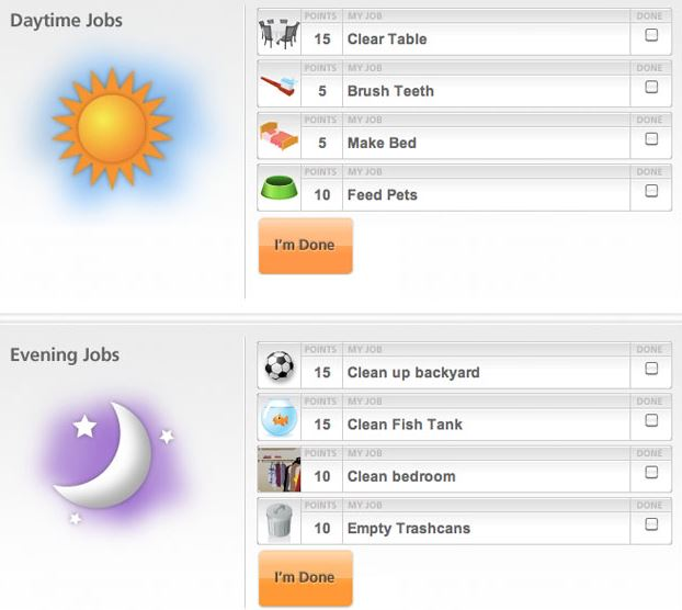 FREE online chore chart for kids (works on tablets, smartphones