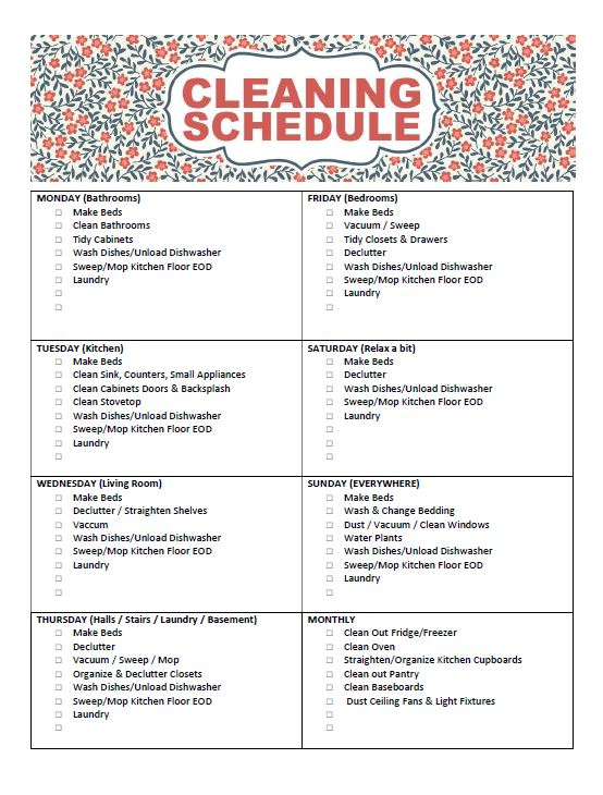 Free Printable Cleaning Schedule - Frugal Mom Eh! - clean house jobs