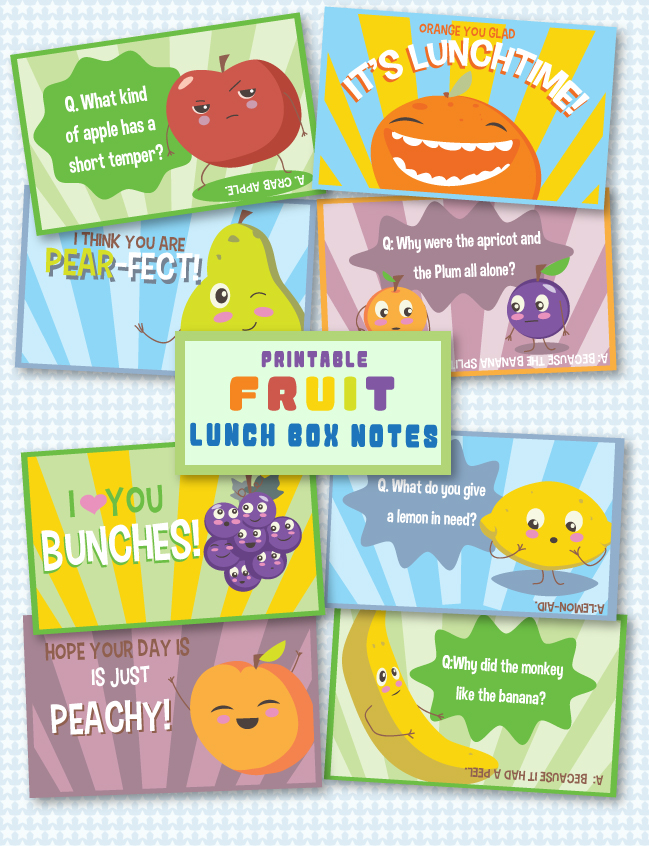 Printable Fruit Lunch Box Notes - Frugal Mom Eh!