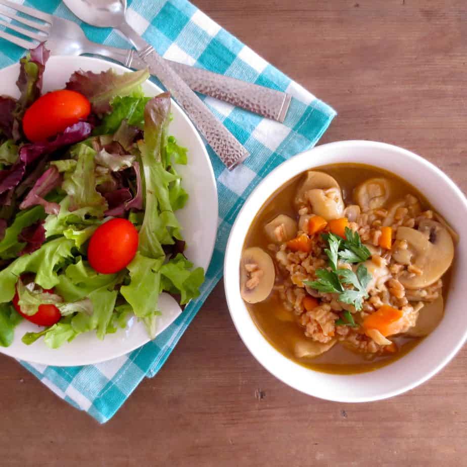 Easy Mushroom and Farro Soup