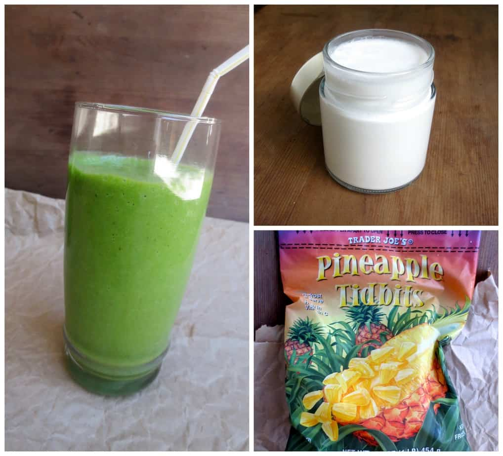 Mango or Pineapple Coconut Spinach Smoothie by Frugal Nutrition $0.75 per smoothie