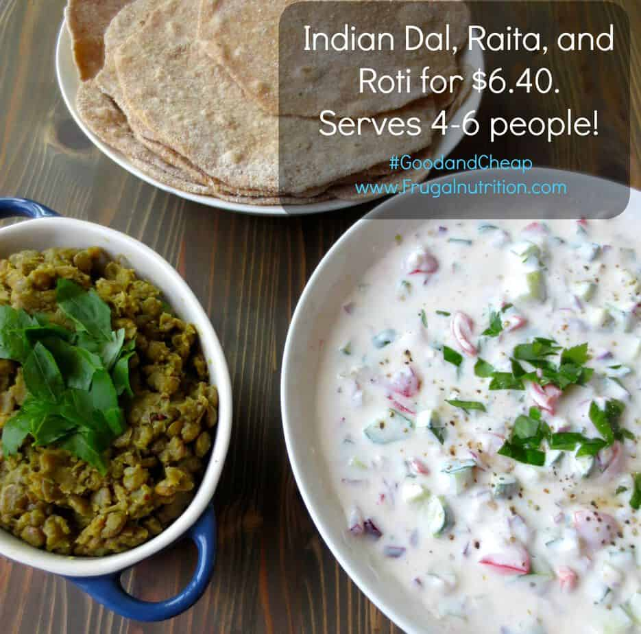 Indian lentil dal good cheap cookbook frugal nutrition indian dal raita and roti meal for just 640 serves 4 6 forumfinder