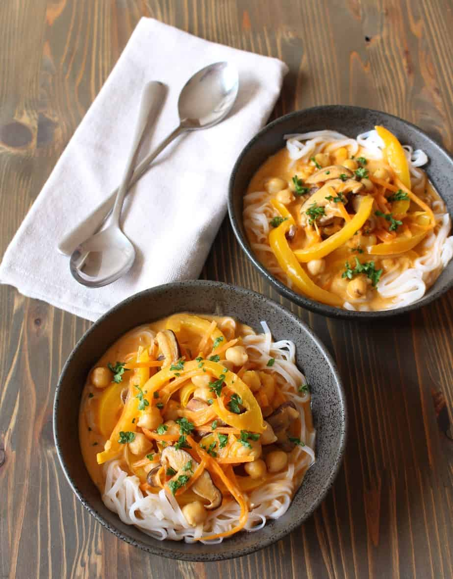 thai red curry coconut soup with rice noodles vegan frugal