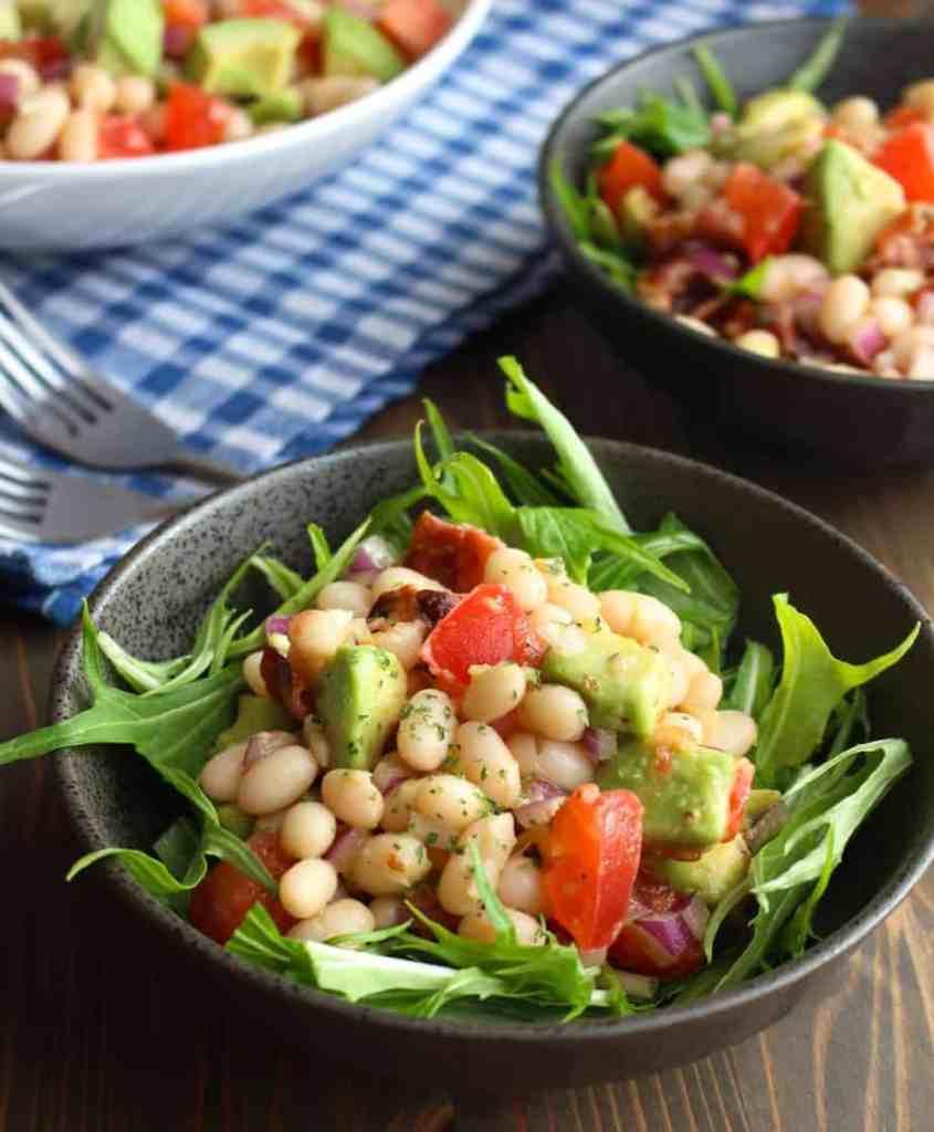 Easy White Bean Avocado Bacon Salad | Frugal Nutrition