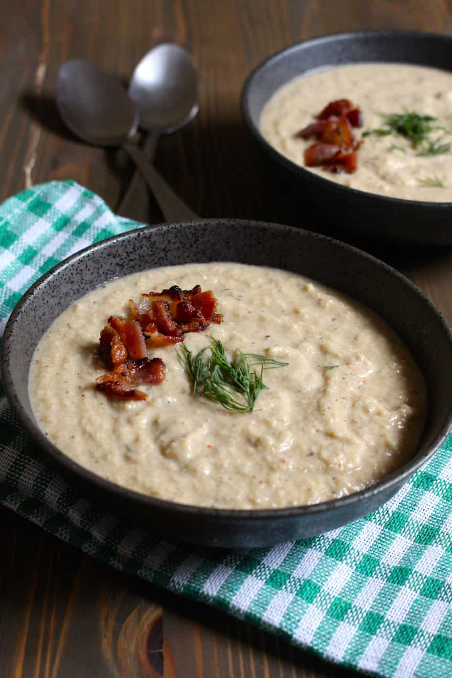 Easy Creamy Celery Soup with Coconut Milk, Bacon, and Dill | Frugal Nutrition