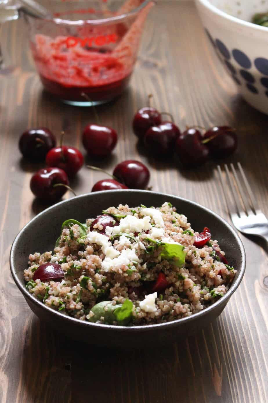 Awesome Cherry Balsamic Quinoa Salad with Spinach and Feta | Frugal Nutrition