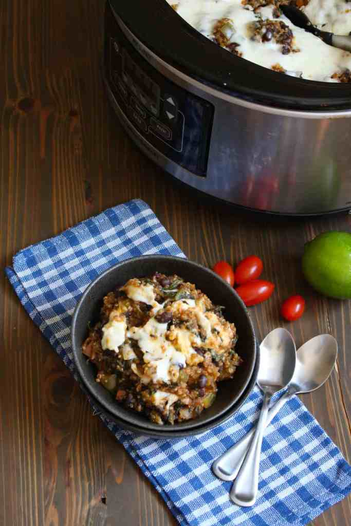 Slow Cooker Quinoa Enchilada Casserole with Spinach | Frugal Nutrition