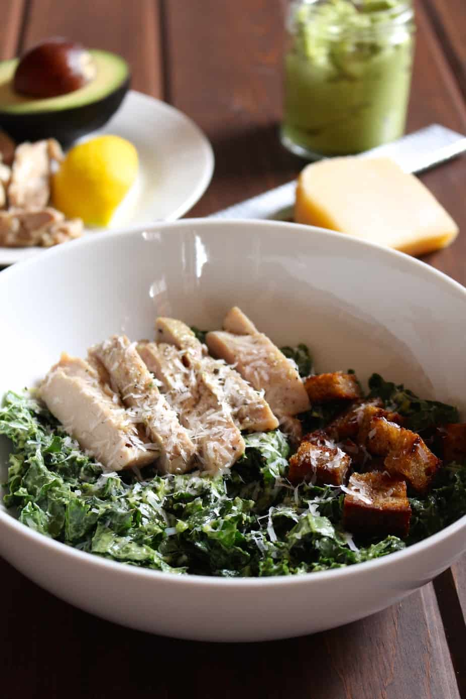 Chicken Kale Salad with Avocado Caesar and Homemade Croutons | Frugal Nutrition