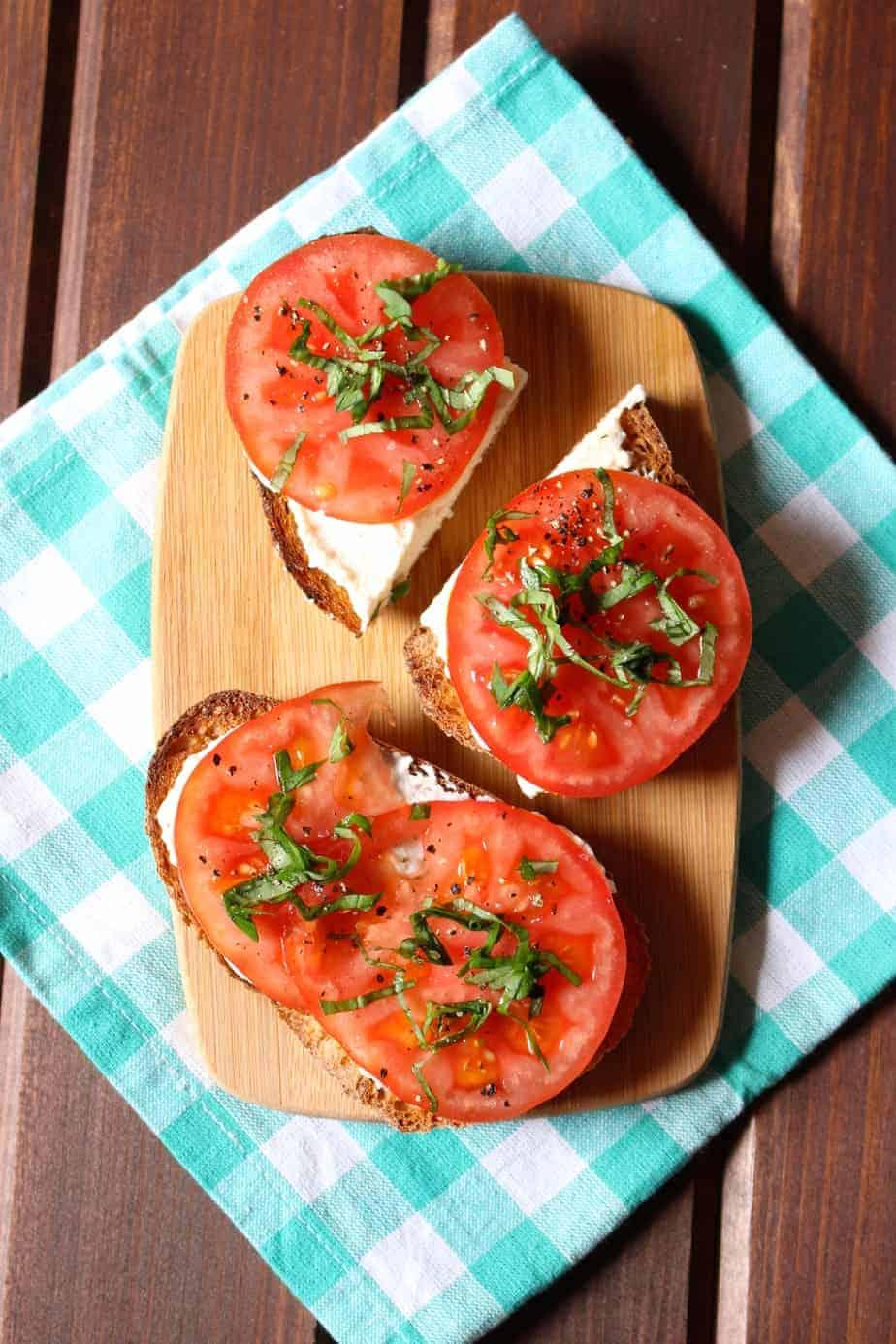 Garlic Ricotta, Tomatoes, Basil on Toast | Frugal Nutrition