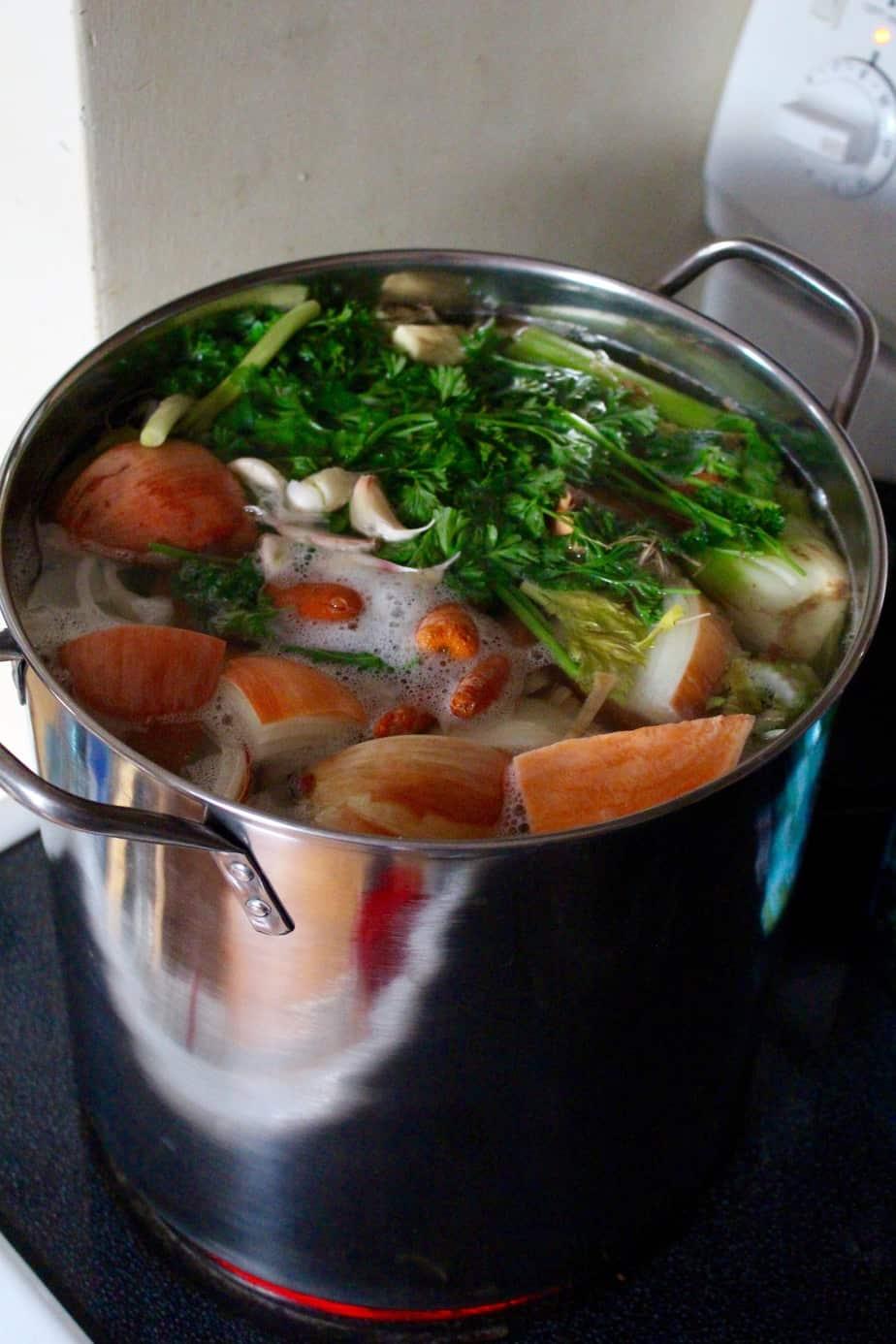 Homemade Nutrient Dense Veggie Broth | Frugal Nutrition
