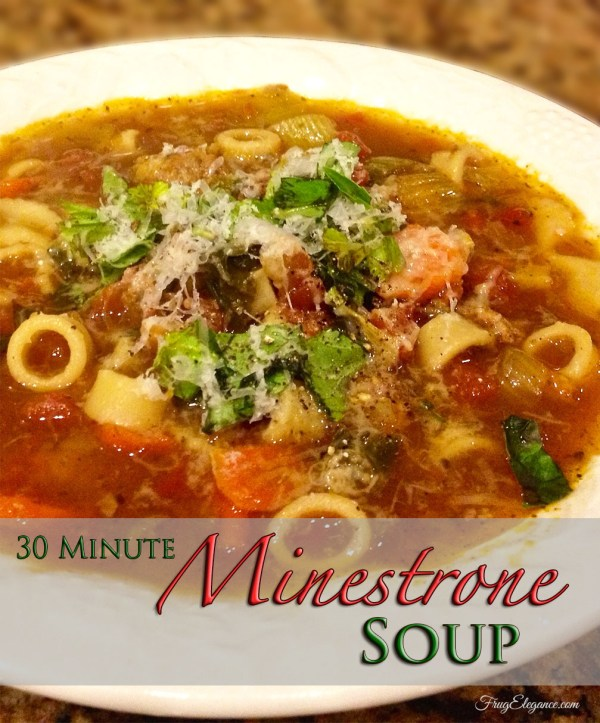 10 Fast and Easy Dinner Recipes for Busy Families-30 Minute Minestrone Soup | FrugElegance | www.frugelegance.com