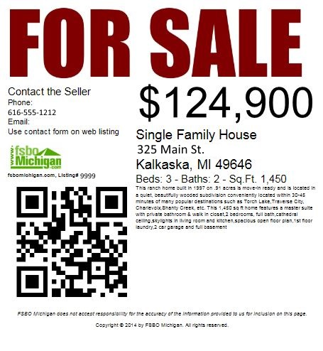 fsbomichigan Printable FSBO For Sale Signs and Flyers with QR Code