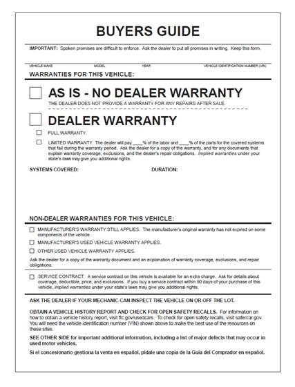 Answering Dealers\u0027 Questions about the Revised Used Car Rule - Automobile Sales Contract